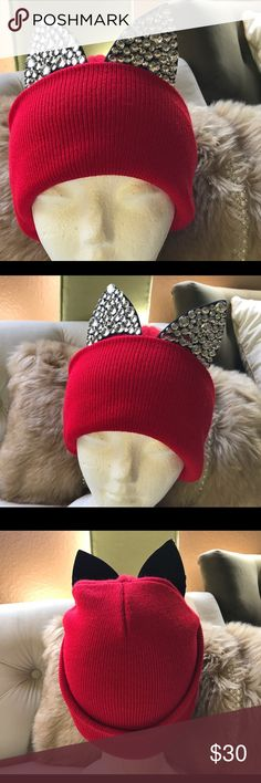 Tasha embellished kitty ears hat Super cute  Red beanie with crystal ears . Worn once washed once perfect condition. (Price is Firm) Tasha Accessories Hats