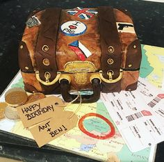 Suitcase cake made by me! Booked a surprise Birthday getaway with my partner. Best way to tell him is through cake! Mmm