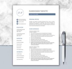 Professional Resume Template  Cv Template For Word  Cover Letter