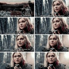 """Clarke: Bellamy, if you can hear me, you're alive. It's been 2,199 days since Praimfaya. I don't know why I still do this every day. Maybe it's my way of staying sane, not forgetting who I am... who I was. It's been safe for you to come down for over a year now. Why haven't you? #The100 4x13 """"Praimfaya"""""""