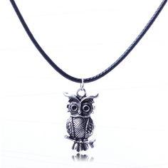 Punk Vintage Owl Pendant Unisex Cord Necklace Free Shipping