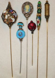 6 Antique style Victorian Hat Pins with vintage and antique pieces by MarysForeverMemories on Etsy https://www.etsy.com/listing/226514900/6-antique-style-victorian-hat-pins-with