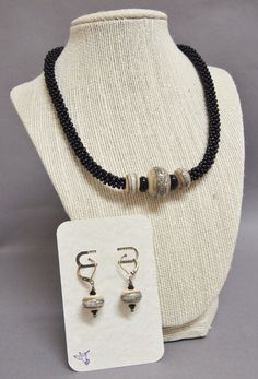 Classic Black and Khaki Kumihimo Necklace and by JasmineTeaDesigns, $165.00 ~ earrings sold separately.