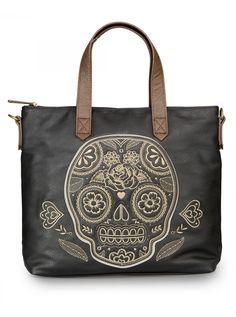 """Natural Sugar Skull"" Crossbody Bag by Loungefly (Brown/Black) #InkedShop #sugarskull #skull #bag #crossbody"