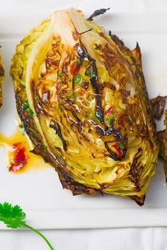 Skinny Roasted Cabbage Wedges Recipe with Garlic Powder, Red Pepper Flakes, Sea Salt, and Lemon - 10 Minute Prep Time - Gluten Free, Vegan, Paleo, Low Carb, and Low Calorie