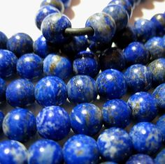 """Blue Lapis 8mm Round Large 2mm Hole Beads 8"""" Leather Cord Ribbon Wire Wrap"""