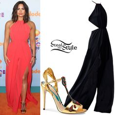 Demi Lovato attended the Nickelodeon Kids' Choice Awards in Los Angeles last night wearing a Halston Heritage Flowy Georgette Jumpsuit ($445.00 – wrong color) and Gucci Allie Arrow-Applique Leather Sandals ($1,190.00).