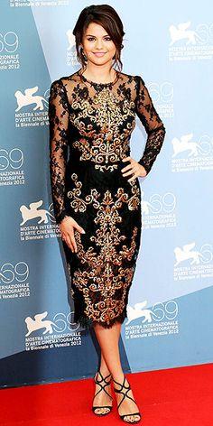 Selena Gomez in gold-embroidered Dolce & Gabbana dress at Venice Film Festival premiere of 'Spring Breakers'