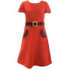 60s Courreges orange wool mod dress | From a collection of rare vintage day dresses at https://www.1stdibs.com/fashion/clothing/day-dresses/