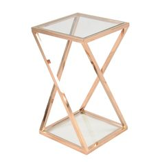 Marcio Tall End Table with Glass in Rose Gold - NPD