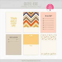 Quality DigiScrap Freebies: Grateful Heart journal cards freebie from Digital Design Essentials