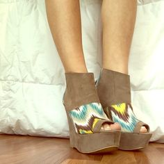 """🎉SALE🎉 Suede Wedge Booties Open toe (fake) suede booties with colorful print accents! Only worn twice. 5"""" heel with 1.5"""" platform. Very true to size! Color is taupe more than tan. There is small dark spot on right shoe that can be seen in first picture! But other than that, no obvious signs of wear! Charlotte Russe Shoes Wedges"""