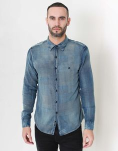 Replay's Jacquard Denim shirt in blue has a multi- patterned panelled shell with black buttons to the placket and black R embroidery to the left chest. Black Button, Denim Button Up, Button Up Shirts, Replay, Denim Shirt, Blue Denim, Clothing, Men, Tops