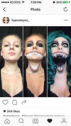 Scary Clown Makeup, Cat Halloween Makeup, Cosplay Makeup, Costume Makeup, Body Makeup, Makeup Art, Sfx Makeup, Creative Makeup Looks, Makeup For Teens