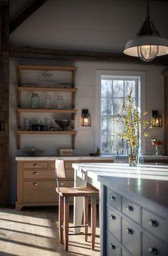 Vintage barn frame addition to Dutch stone house - traditional - kitchen - boston - KATE JOHNS AIA