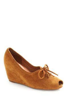 Cinnamon Shoe-gar Wedge by Jeffrey Campbell - Brown, Solid, Bows, Cutout, Work, Casual, Fall, Wedge