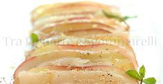 Carpaccio di dentice e pesca tabacchiera, con olio alla menta e fiocchi di sale al limone | Tra Pignatte e Sgommarelli