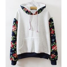 Wholesale Fresh Style Colorful Flower Print Spliced Hoodie For Women Only $8.23 Drop Shipping | TrendsGal.com