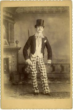 Vaudeville Performer Cabinet Card Actor Circus Weird Costume Odd Top Hat Monocle
