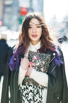 Irene Kim - Korean Model with blue hair Korean Street Fashion, Asian Fashion, Look Fashion, Girl Fashion, Irene Kim, Kim Hair, Ombré Hair, Style Ulzzang, Ulzzang Fashion
