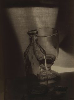 Josef Sudek. Still Life with Glass and Bottle✖️More Pins Like This One At FOSTERGINGER @ Pinterest✖️