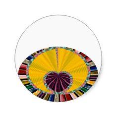 Dark Purple Heart in a Platter Round Stickers