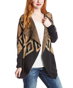 Loving this Morning Apple Black & Gold Tribal Open Cardigan on #zulily! #zulilyfinds