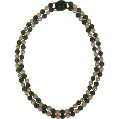 Japanese Vintage Cultured Pearl and Blue Green Jade Silver Double Strand Necklace with Sterling and Large Jade Clasp