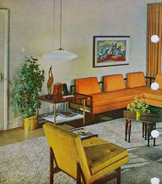 mid century living room This is attractive but not comfortable. Grew up with this style. I still have my parents Danish chairs with arms though. 1960s Living Room, Mid Century Modern Living Room, Mid Century House, Mid Century Modern Design, Mid Century Modern Furniture, Living Room Decor, Comfortable Living Rooms, Better Homes And Gardens, Decoration