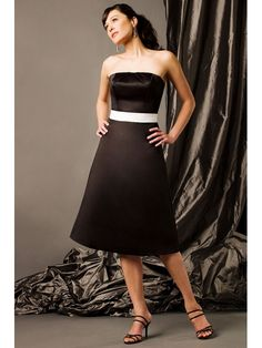 Simple Satin Strapless Tea Length A-line Bridesmaid Dress With Waist Band Detail