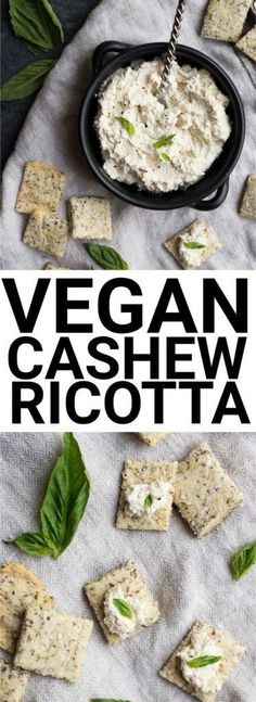 Easy Vegan Cashew Ricotta: super simple and only requires 4 ingredients! Use it as a healthy dip, in recipes, or as a spread! Naturally gluten free and dairy free. || http://fooduzzi.com recipe Vegan Recipes Simple, Cashew Recipes, Vegetarian Recipes, Vegan Cheese Recipes, Vegan Sauces, Easy Vegan Food, Raw Food Recipes, Vegan Cashew Cheese, Vegan Milk