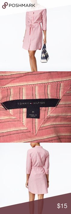⏳Tommy Hilfiger Pink Stripe Tie-Waist ShirtDress M ⏳🍃LIMITED TIME listing! Selling elsewhere soon⌛️🍃🍃Tommy Hilfiger Pink Stripe button up Collared shirt dress. Features button cuffs and 3/4 sleeves, Sinched waist with internal, adjustable waist band that ties in front. EUC: Gently worn and washed maybe 2-3 times. No holes rips etc., just needs an iron! TTS, I was an M/L at the time of purchase. Tommy Hilfiger Dresses