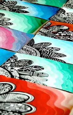 Zentangle flowers with tempera-value background: