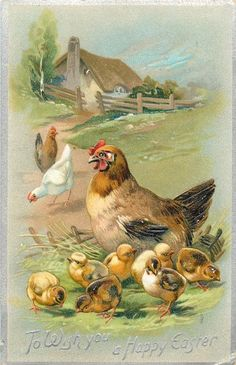 TO WISH YOU A HAPPY EASTER  brown hen facing left and seven chicks