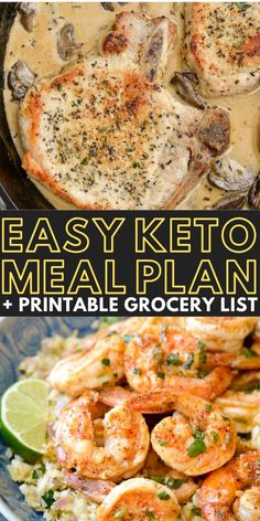 Enjoy 5 easy low-carb dinners + a bonus keto-friendly dessert! Net carb counts, serving amounts, and a printable shopping list is included to take the stress out of staying keto! Printable Shopping List, Meal Planning Printable, Easy Keto Meal Plan, Keto Friendly Desserts, Meals, Dinners, Keto Recipes, Low Carb, Printables