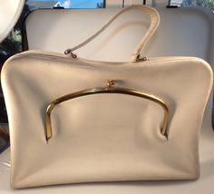 Vintage 1960s COACH Bonnie Cashin Carry Attache Briefcase Handbag Striped Lining #BonnieCashin #AttacheCase