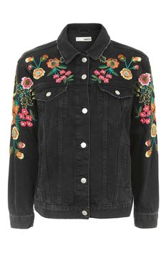 MOTO Floral Embroidered Denim Jacket - New In- Topshop Europe
