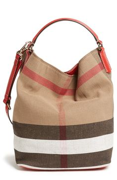 Burberry Brit 'Susanna - Medium' Bucket Bag, Oversized checks lend signature sophistication to a slouchy bucket bag trimmed with smooth, burnished leather. A snap-in zip pouch keeps your essentials organized while doubling as a convenient clutch. Burberry Brit, Burberry Women, My Bags, Purses And Bags, Burberry Bucket Bag, Sac Week End, Burberry Handbags, Leather Handbags, Portable