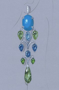 LR Azure Long Chandelier Earrings Rapid Rendering http://www.nyjdi.com/workshop/rapidrendering/