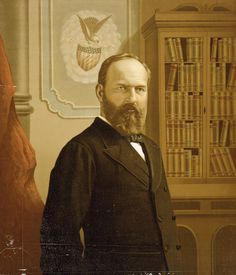 James A. Garfield: On November future President James A. Garfield is born to an impoverished family near Cleveland, Ohio. American Presidents, Us Presidents, Us History, American History, Presidential Portraits, Presidential History, 20th President, Garfield, Interesting Quotes