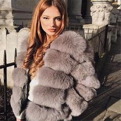 Shop for trendy swimwear, clothing and accessories for women at affordable prices Autumn Fashion 2018, Fur Fashion, Fall Fashion Trends, Winter Fashion Outfits, Trendy Outfits, Trendy Fashion, Winter Outfits, Fox Fur Jacket, Fox Fur Coat