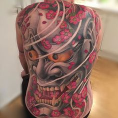 Gorgeous Japanese back tattoo by The cherry blossoms just pop! Oni Tattoo, Hannya Maske Tattoo, Hanya Tattoo, Japanese Mask Tattoo, Japanese Tattoos For Men, Japanese Tattoo Designs, Japanese Sleeve Tattoos, Back Tattoos For Guys, Full Back Tattoos