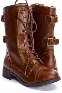 TAN CRINKLE FAUX LEATHER LACED UP COMBAT BOOTS - $29.99