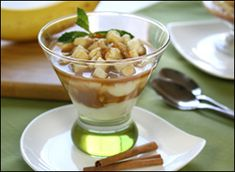 HG Bananas Foster Puddin' Parfait - PER SERVING (entire recipe): 176 calories, 2.5g fat, 200mg sodium, 39.5g carbs, 1.75g fiber, 17g sugars, 2g protein -- PointsPlus® value 3*