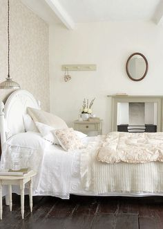 bedroom, bedroom decor, white interiors, wood floors