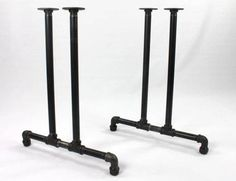 The Black Iron Pipe table base in raw iron pipe gives the coolest, most contemporary look to your tabletop. The holes in the top of the table legs make it easy to mount on wood and the threaded pipes are adjustable for uneven floors. Pipe Leg Table, Diy Table Legs, Iron Table Legs, Table Diy, Dining Table, Rustic Table, Patio Table, Picnic Table, Rustic Decor