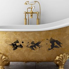"Style and Apply Goldfish Wall Decal Size: 18"" H x 79"" W, Color: Gold"