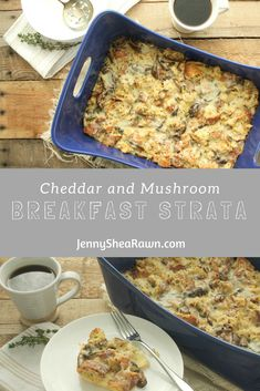 #AD Cheddar and Mushroom Breakfast Strata via JennySheaRawn.com. This strata, or breakfast casserole, combines some of our most favorite things: cheddar cheese, Greek yogurt, eggs, mushrooms (shitake and baby bella) and whole grain bread. Don't skip the fresh thyme in this recipe – it goes really nicely with the earthy mushrooms and shallots.    Healthy Brunch Recipes | Brunch Recipes | Brunch Casseroles