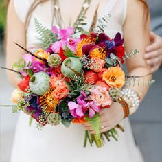 A splash of color in this bohemian wedding inspiration shoot! What a stunner bouquet!