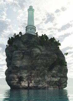 """This is a scene inspired from the Tyrrhenian Sea... I modeled the rock on Zbrush, I taked the lighthouse from this link :  """"Lighthouse building coast tower by Tse Tsz-ho"""" - 3d model That's so real you know ? Then i put on Vue 9 and i created the scene... Model of Lighthouse : http://artist-3d.com/free_3d_models/dnm/model_disp.php?uid=142"""